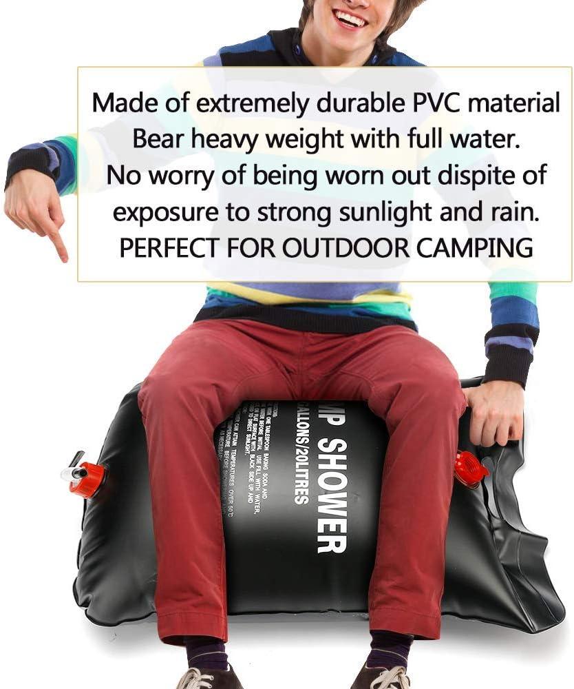 Ducha de Camping para Jard/ín Senderismo y Escalada 20 Litros Bolsa de Ducha de Acampada Portatil Bolsa de Ducha Al Aire Libre para Agua Calentar Solares ASANMU Bolsa de Ducha Solar Acampada