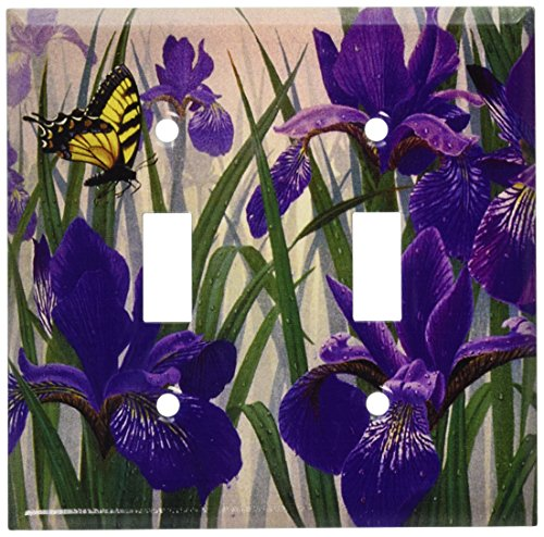 Art Plates - Butterfly in Irises Switch Plate - Double Toggle ()