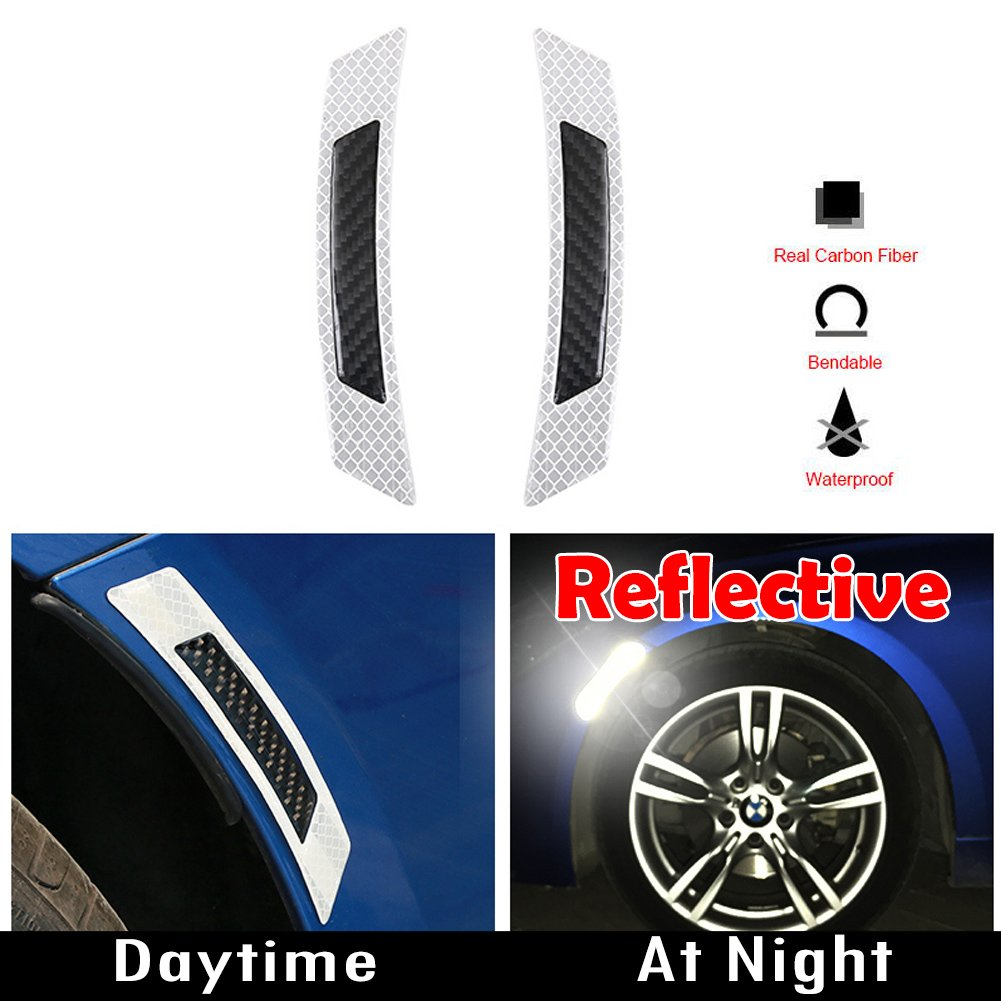 GTINTHEBOX 3D Super Reflective White Stickers w/Real Carbon Fiber Strips Car Side Wheel Eyebrow Edge Bumper Fender Anti-Scratch Protection Guards Trim Stickers Universal Fit Car SUV Pickup Truck 2PCS