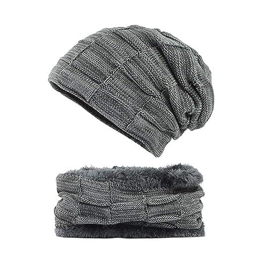 e54833c4f66 OuYang Unisex Winter Beanie Hat Scarf Set Warm Knit Hat Ski Skull Cap Scarf  Set Slouch