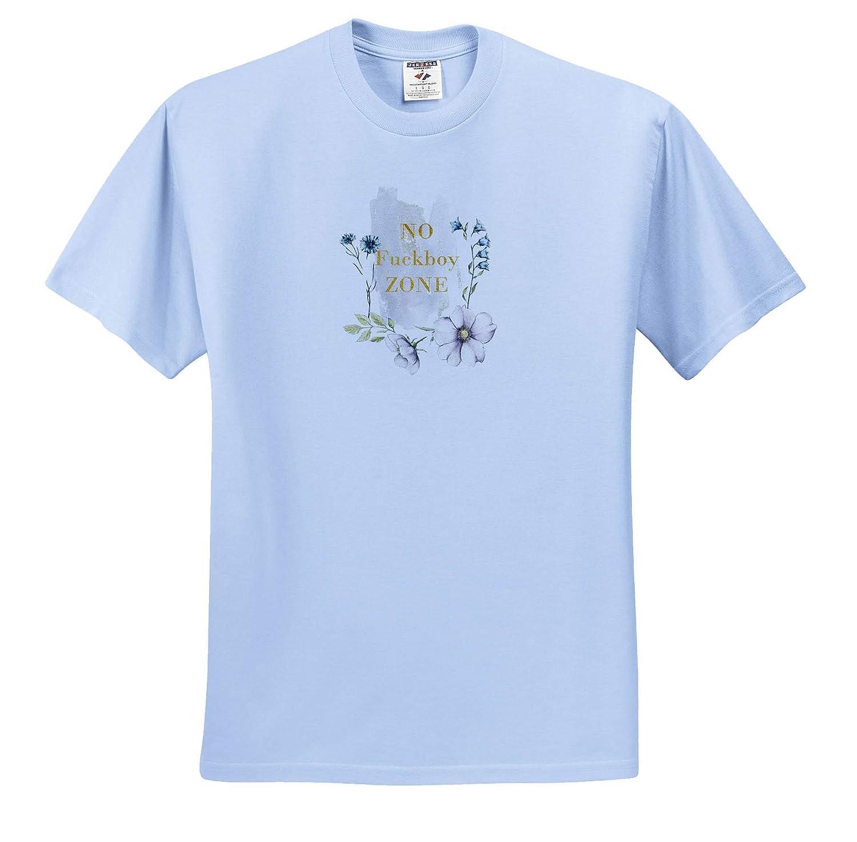 3dRose Uta Naumann Sayings and Typography Adult T-Shirt XL ts/_310955 No Boy Zone- Feminine Flowers Girl Power Typgraphy
