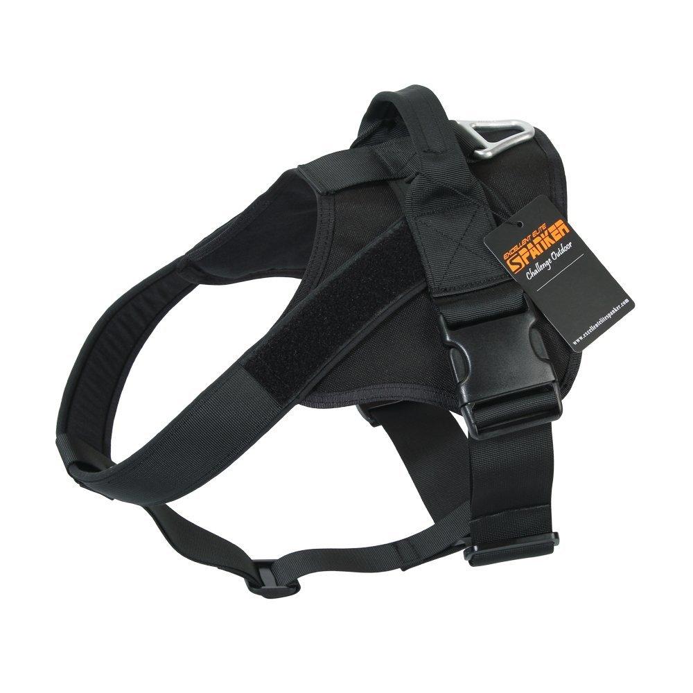 EXCELLENT ELITE SPANKER Tactical Dog Harness Military Training Patrol K9 Service Dog Vest Adjustable Working Dog Vest with Handle(Black-L)