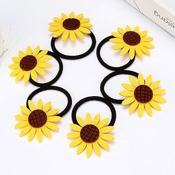 Cute Sunflower Girls Hair Band Ties Rope Ring Elastic Ponytail Holder Hairb