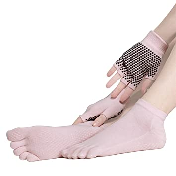 SANIQUEEN.G Mujer Deportes Yoga Pilates Calcetines y Guantes Conjunto, Algodón Antideslizante Calcetines del Dedo (Rosado)