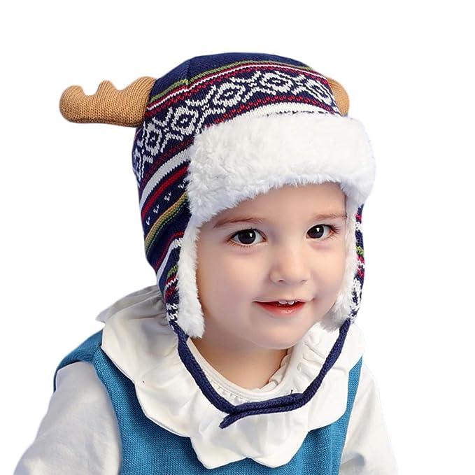 ... Cappello Bambino Invernale con Antlers Berretti Bambine Animali Termico  Pile con Paraorecchie per Bambini E Ragazzi 40-54Cm  Amazon.it   Abbigliamento 95ed5e4e5991