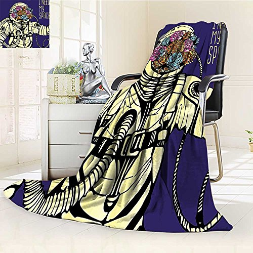 YOYI-HOME Digital Printing Duplex Printed Blanket Outer Space Floral Cosmonaut Man in Spacesuit Solar System Alien Comet Image Yellow Blue Summer Quilt Comforter /W59 x H86.5 by YOYI-HOME