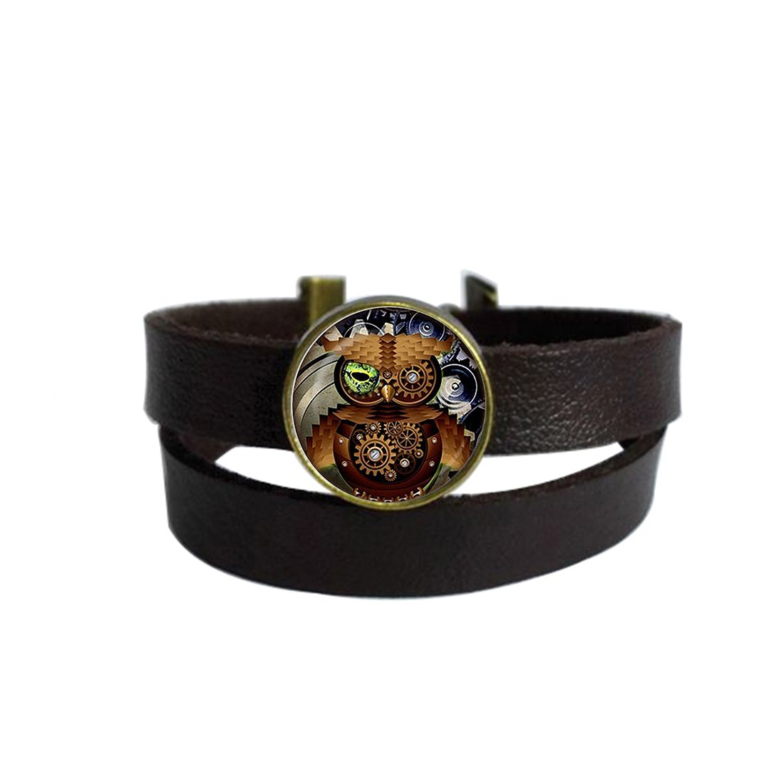 Two Layers Design Dark Brown Leather Cuff Bangle Steampunk Owl Rope Wristband Bracelet with Glass Pendant