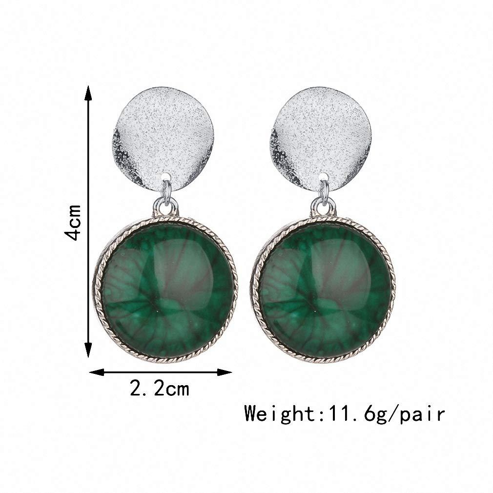 Womens Drop Dangle Earrings Vintage Double Circle Earrings Women Green Stone Stud Earrings for Girls Jewelry Gift