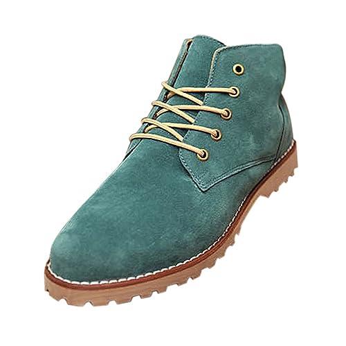 Gleader Nueva moda britanicos para hombre Casual de encaje gamuza Botines Mocasines Zapatillas de deporte Verde