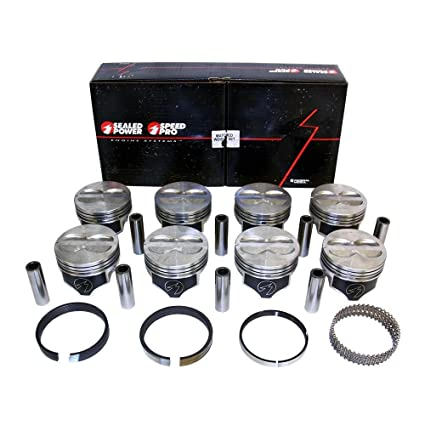 Chevy 400 Flat Top Pistons + Moly Rings Kit SBC 406  ( 030
