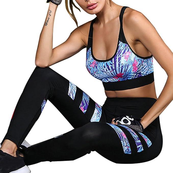 a087048d983 Juleya Tracksuit Mujer Chandal Formación Ropa Yoga Traje Ropa de Deporte 2  Pieza Conjunto Racerback Sostén