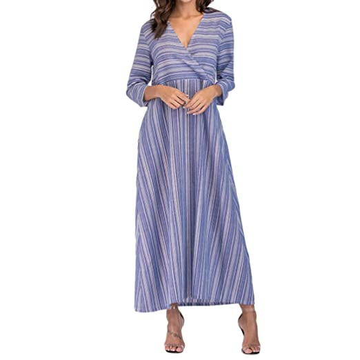 7b8f1a0f06e9 Amazon.com: XILALU Women Loose Pockets Dress, Long Sleeve Cotton Linen V-Neck  Striped Print Wrap Maxi Dresses Kaftan Plus Size: Clothing