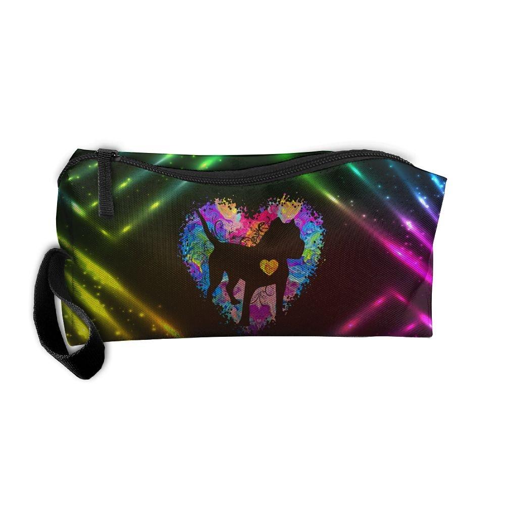 Pitbull Love Watercolor Multi-functional Cosmetic Makeup Bag Zipper Closure Bags Toiletries Organizer Bag
