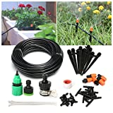 "PATHONOR Drip Irrigation Kits, Plant Watering Kit With 50ft 1/4"" Blank Distribution Tubing Hose, 5pcs Misters,10pcs Support Stakes,15pcs Barbed Fittings,Quick Adapter For Garden Flower Beds"