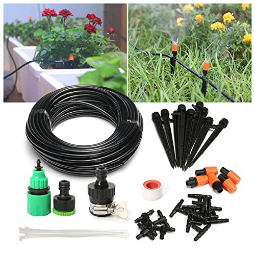 PATHONOR Drip Irrigation Kits, Plant Watering Kit with 50ft 1/4 Blank Distribution Tubing Hose, 5pcs Misters,10pcs Support Stakes,15pcs Barbed Fittings,Quick Adapter for Garden Flower Beds
