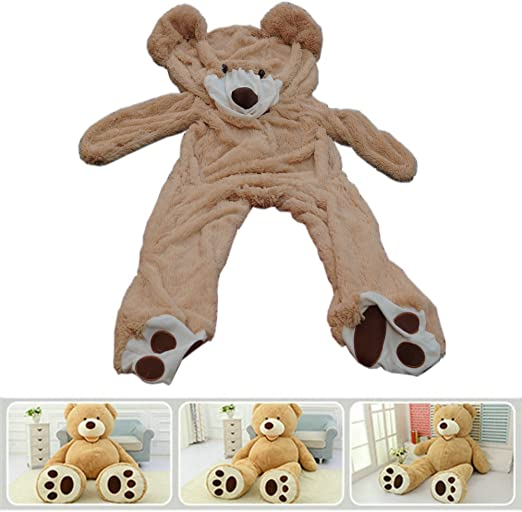 47/'/' Giant Big Brown Teddy Bear Plush Toys Cover Shell With Zipper Xmas Gift