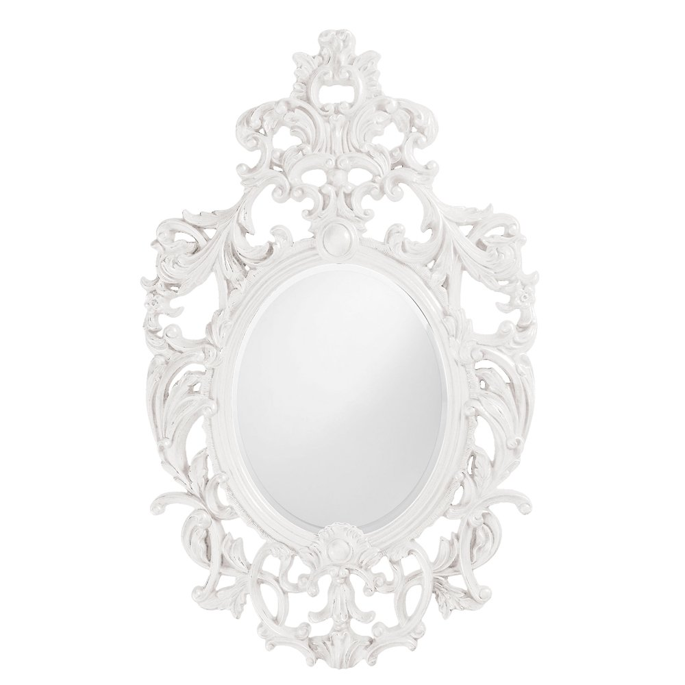 Howard Elliott 2146W Dorsiere Oval Mirror, Glossy White