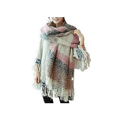 Manta cómoda Weibestshop mujeres tartán chal bufanda caliente de gran tamaño cómodo de la tela escocesa Pashmina comprobado navidello Rosa rosa: Deportes y aire libre