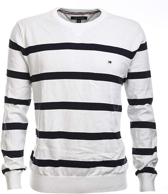 Tommy Hilfiger Herren Rundhals Pullover Feinstrick weiß dunkelblau gestreift Größe L