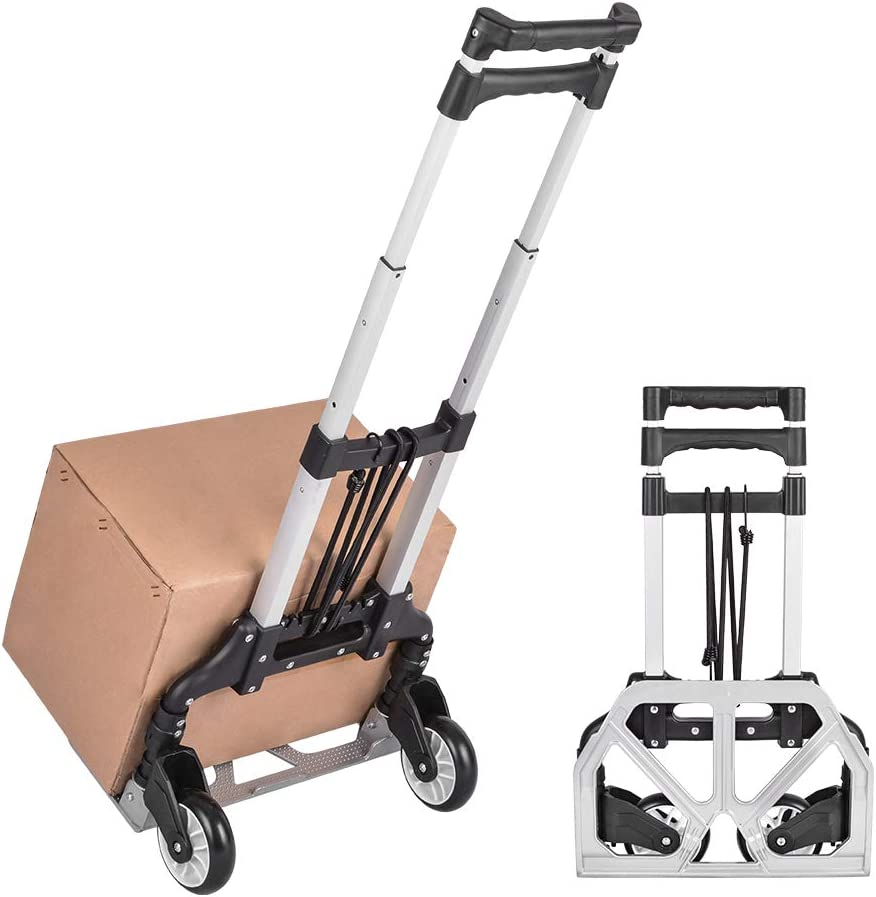 Xcellent Global Folding Hand Truck Travel Trolley, 80kg/176lbs Load Capacity Compact Lightweight Durable Aluminum Alloy Luggage Cart for Luggage, Shopping, Travel, Moving and Office Use