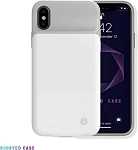 Boosted Case, Ultra Slim Smart Battery Charging Case iPhone X/Xs (3200mAh), iPhone XR iPhone Xs Max (4000mAh) Fully Covered Protection, Lighting Cable Compatible (White, iPhone Xs Max 4000mAh)