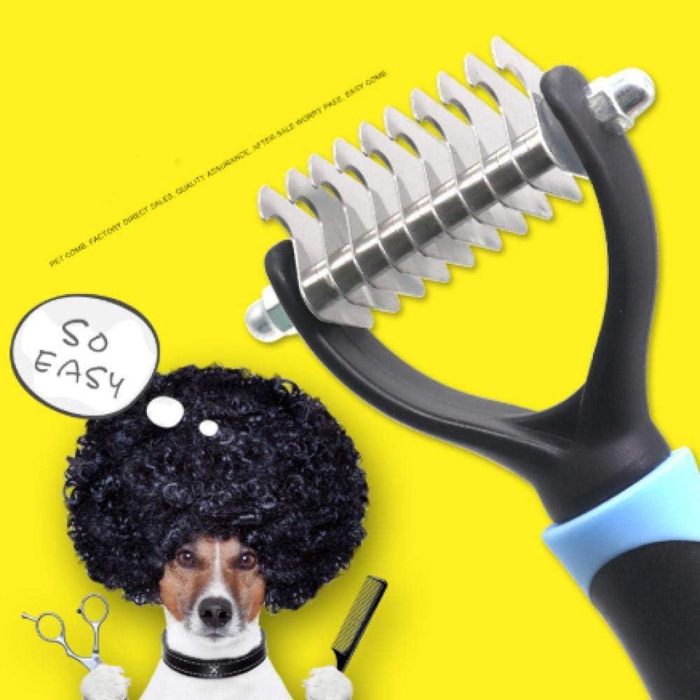 laoniu Nudo de Pelo para Mascotas Cuchillo para peinar Perro Peine cobertizo rastrillo Gato Gato Peine de depilación Peine para Mascotas Cepillo Herramienta de Aseo