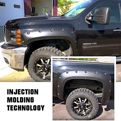 SMOOTH 2007-2013 CHEVY SILVERADO 1500 Short Bed Pocket Riveted Fender Flares