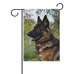 Hokkien Smiling German Shepherd Garden Flag Banner 12 x 18 Inch Decorative Garden Flag for Outdoor Lawn and Garden Home Décor Double-Sided