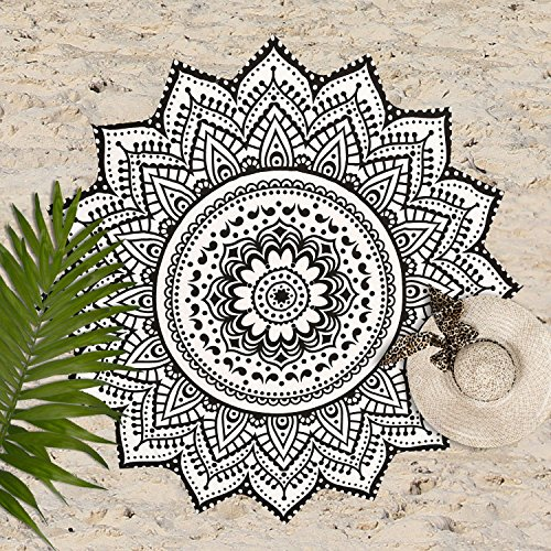 Madhu International Cotton White Black Mandala Round, Beach Throw, Yoga Mat, Table Cover, Picnic Mat, Roundies