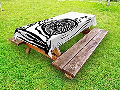 Lunarable Abstract Outdoor Tablecloth, Children Riding a Giant Snail Woodcut Art Style Monochrome Sketch of Wildlife, Decorative Washable Picnic Table Cloth, 58 X 84 Inches, Black and White