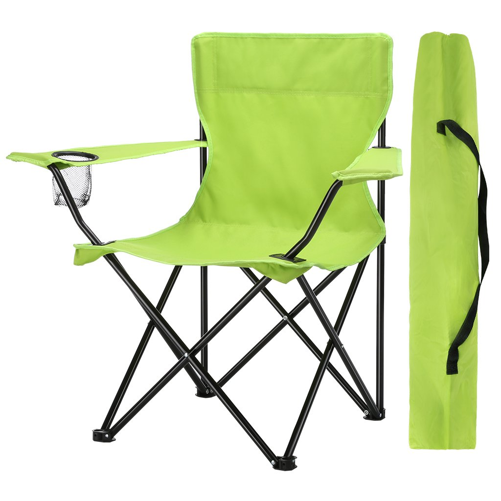 Finether Camping Chair Folding Chair Outdoor Compact Portable Folding Chair Light Aluminium Folding Camp Chair Beach Chair Portable Arm Chair Folding with Mesh Cup Holder and Carrying Bag│for Festival Outdoor Camping Fishing Picnic Barbecue Trade Show Hik