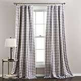 Lush Decor Houndstooth Window Curtain Panel, Set of 2, 84 x 50 Inches, Gray For Sale