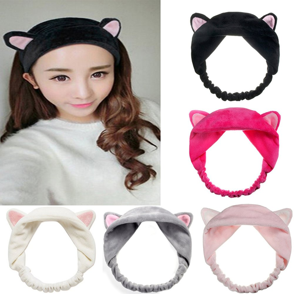 Mokde Mondge Cute Cat Ear Hair Band For Women Wash Face Makeup Running Sport, 5 Piece