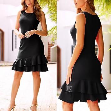 Amazon.com: baskuwish Clearance! Summer Ruffle Sleeveless Dress Women Bodycon Slim fit Party Short Mini Dresses (Black, XL): Sports & Outdoors