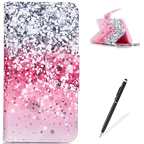 iPhone 6 Plus / 6S Plus Case Flip Slim Fit Wallet Cover Premium PU Leather Card Slots Protective Case MAGQI Magnetic Closure Cover for iPhone 6Plus / 6S Plus - Pink Silver Sand (Pink Leather Case Premium)