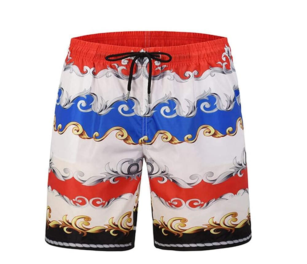 Smmer Mens Swimming Trunks Retro Pattern Print Casual Surfing Beach Pants