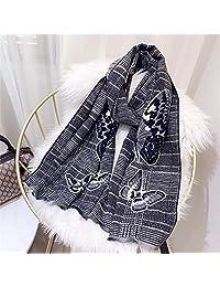 YUANZ Home Scarf Fashion Warm Scarf Plaid Scarf (Color : Black, Size : 180 * 70)