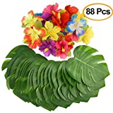 KUUQA 88 Pcs 20cm/8'' Tropical Palm Leaves and Silk Hibiscus Flowers Party Decor, Artificial Monstera Plant Leaves Flowers Hawaiian Luau Party Jungle Beach Theme BBQ Birthday Party Decorations Supplie