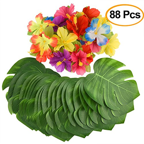 KUUQA 88 Pcs 20cm/8'' Tropical Palm Leaves and Silk Hibiscus Flowers Party Decor, Artificial Monstera Plant Leaves Flowers Hawaiian Luau Party Jungle Beach Theme BBQ Birthday Party Decorations Supplie by KUUQA