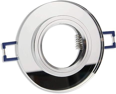 10x Einbaurahmen GU10 Glas rund eckig Rahmen 60-70mm Einbaustrahler Einbauspot