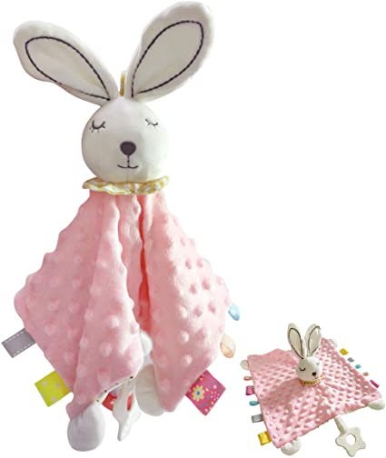 Security Blankets for Babies Bunny Stuffed Plush Teething Towel Toy with Silicone Teether and Built-in Bell,10 x 10