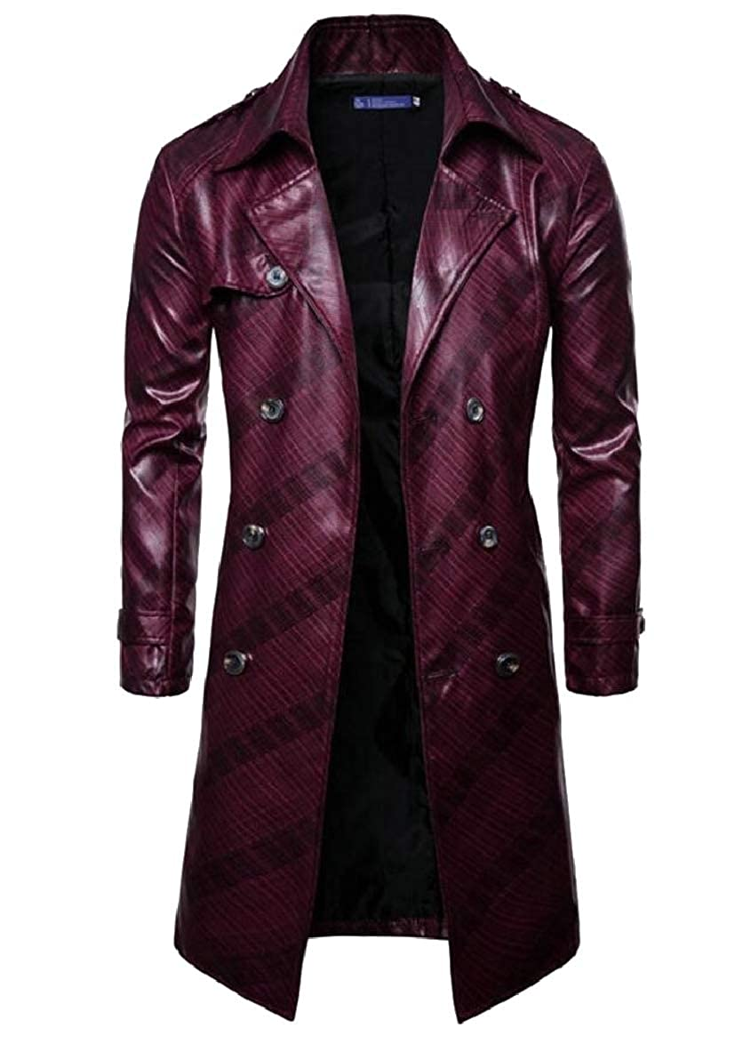sports shoes 9ba72 78a5c Wine Red Smeiling-CA Men Men Men Faux Leather Winter Trench Coat Double  Breasted Parka Jacket Outwear ae287c