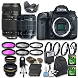Canon EOS 7D Mark II DSLR Camera Bundle with Canon EF-S 18-55mm f/3.5-5.6 IS STM Lens + Tamron Zoom Telephoto AF 70-300mm Lens + Wideangle Lens + Telephoto Lens + 2 PC 32 GB Cards + 6 PC Filter Kit