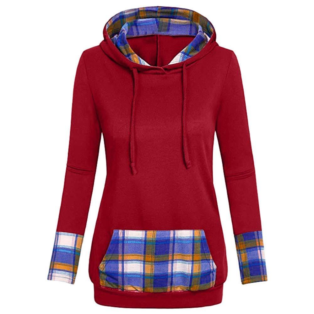 Staron  Womens Hooded Blouse Plaid Long Sleeve Sweatshirts Tops Hoodies