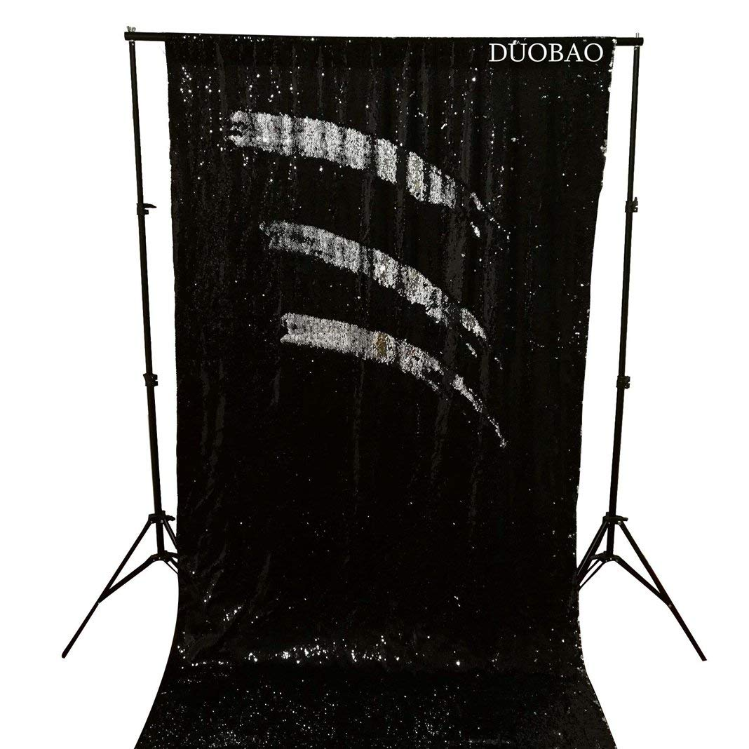 DUOBAO Sequin Backdrop 8Ft Black to Silver Mermaid Sequin Backdrop Fabric 6FTx8FT Two Tone Sequin Curtains by DUOBAO