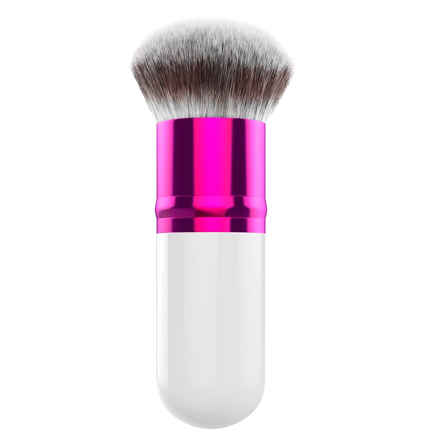 Luxspire Professional Makeup Brush, Single Handle Large Round Head Soft Foundation Face Powder Brush BB Cream Brush Cosmetics Make Up Tool, White & Rose Red