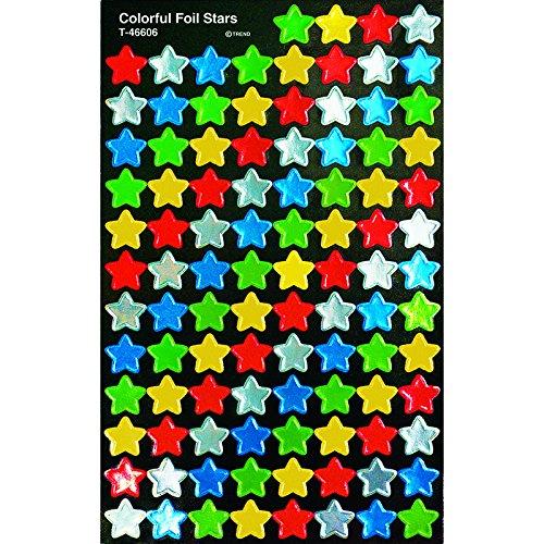 Trend Enterprises Colorful Foil Stars Super Spots   Super Shapes Stickers  T 46606