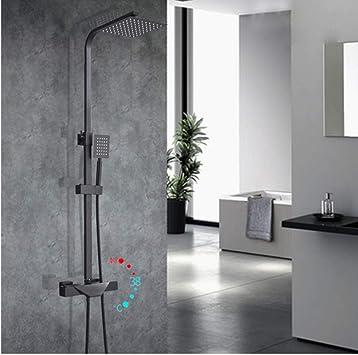 fbnrql Grifo de ducha termostático negro cromado Baño Bañera Ducha ...