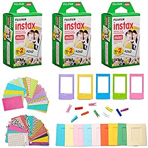 Fujifilm Instax Mini Instant Film (3 Twin Packs, 60 Total Pictures) + 60 Sticker Frames, 5 Plastic Desk Frame, 10 Hanging Clips with String, Micro-fiber Cleaning Cloth