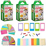 #3: Fujifilm Instax Mini Instant Film (3 Twin Packs, 60 Total Pictures) + 60 Sticker Frames, 5 Plastic Desk Frame, 10 Hanging Clips with String, Micro-fiber Cleaning Cloth